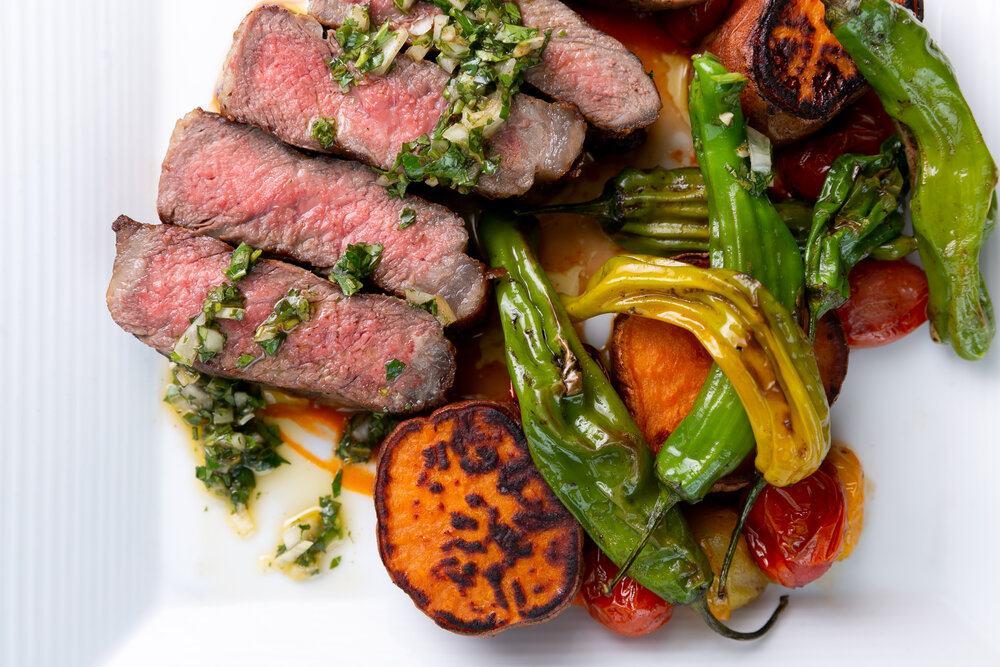 Steak and fire roasted peppers dinner